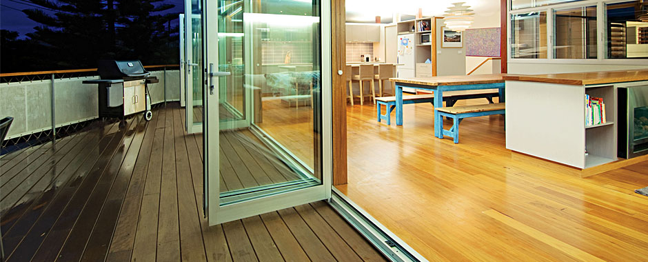 folding doors to sunroom